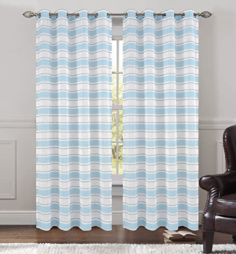Urbanest 54-inch by 96-inch Set of 2 Faux Linen Sheer Deneuve Drapery Curtain Panels with Grommets, Blue