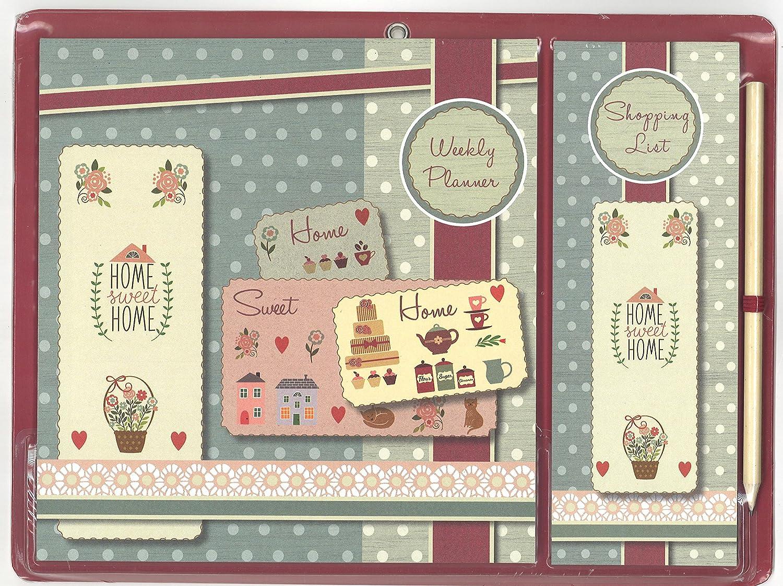 Home Sweet Home vintage design magnetico pasto settimanale e lista della spesa con matita The Gifted Stationery Company