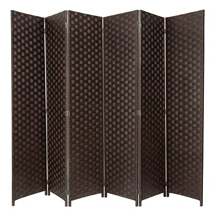 Stupendous Mygift Large Woven Paper Rattan 6 Panel Room Divider With Two Way Hinges Brown Download Free Architecture Designs Crovemadebymaigaardcom