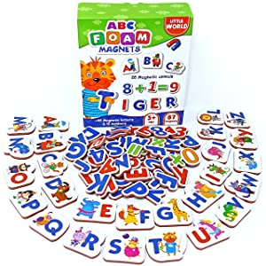 Kids Fridge Magnets 87 pcs – Fridge Magnets for Toddlers – Baby Magnets for Refrigerator – Alphabet Magnets – Magnetic Letters and Numbers – Kids Magnets for Refrigerator – Animal Magnets ABC