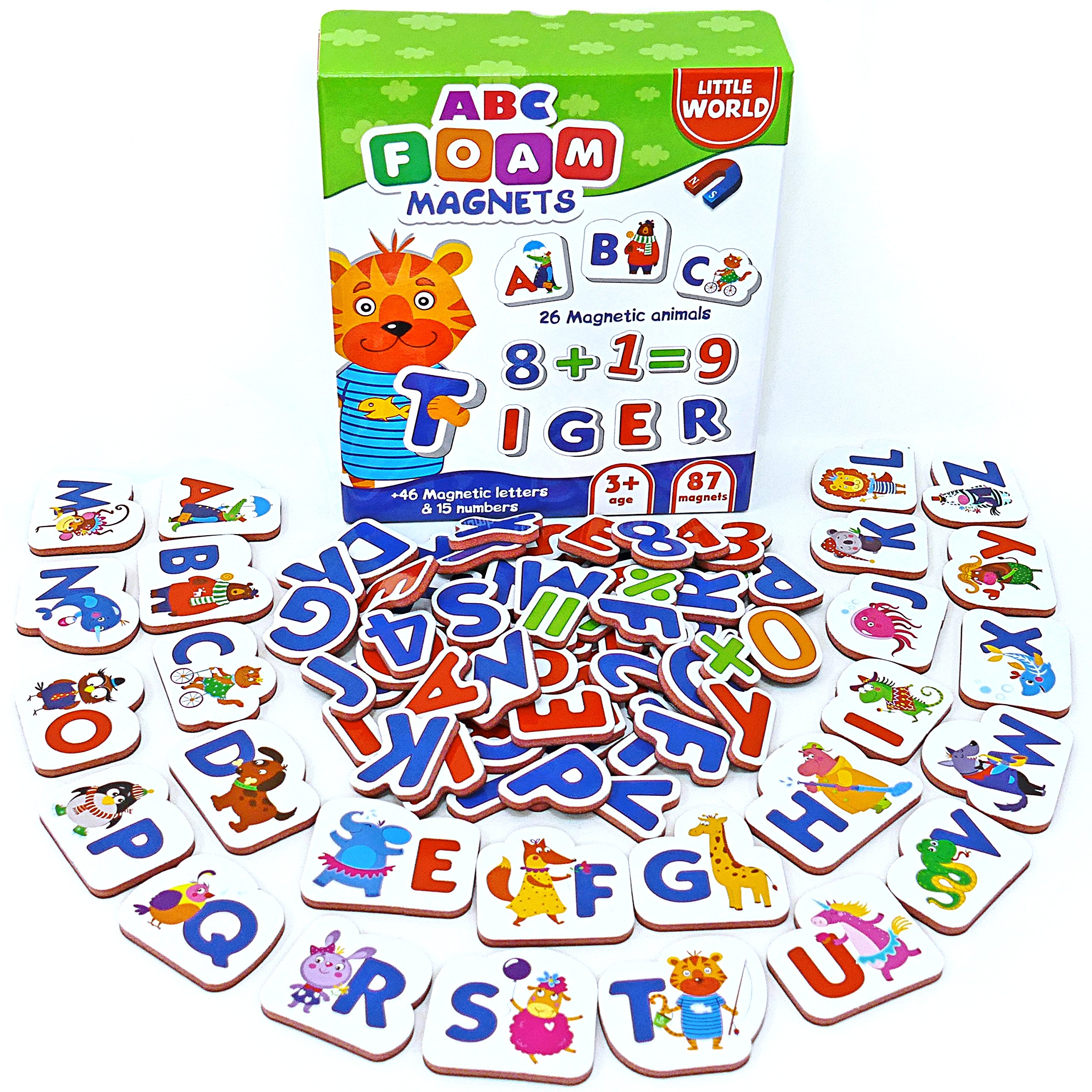 Magnetic Letters and Numbers for Toddlers 87 pcs – Alphabet Magnets for Fridge – Letter Magnets for Kids – Magnetic Alphabet – Refrigerator Magnets for Toddlers – Baby Magnets – Animal Magnets Foam
