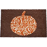 Entryways Scrolled Pumpkin Non Slip Coir Doormat