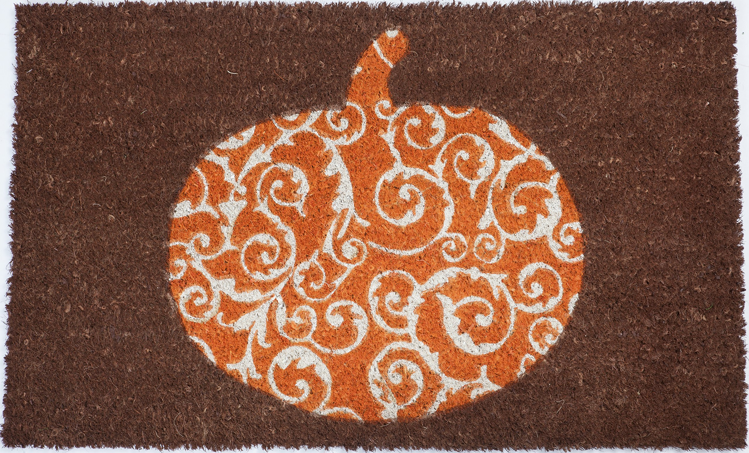 Entryways Scrolled Pumpkin Non- Slip Coconut Fiber Doormat 17'' X 28'' X .5'' by Entryways