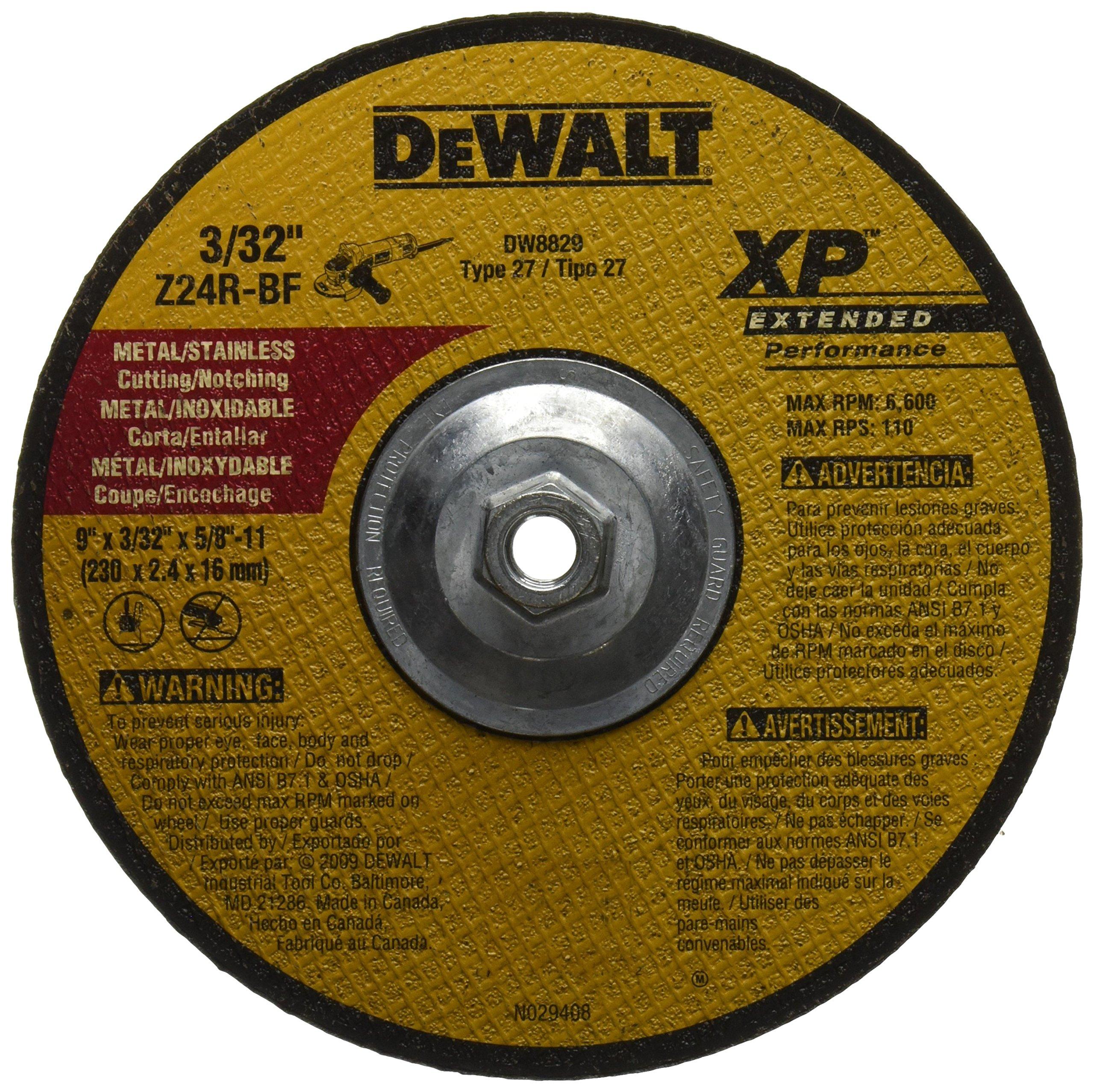 DEWALT DW8829 9-Inch by 3/32-Inch by 5/8-Inch-11 XP Cutting and Notching Wheel