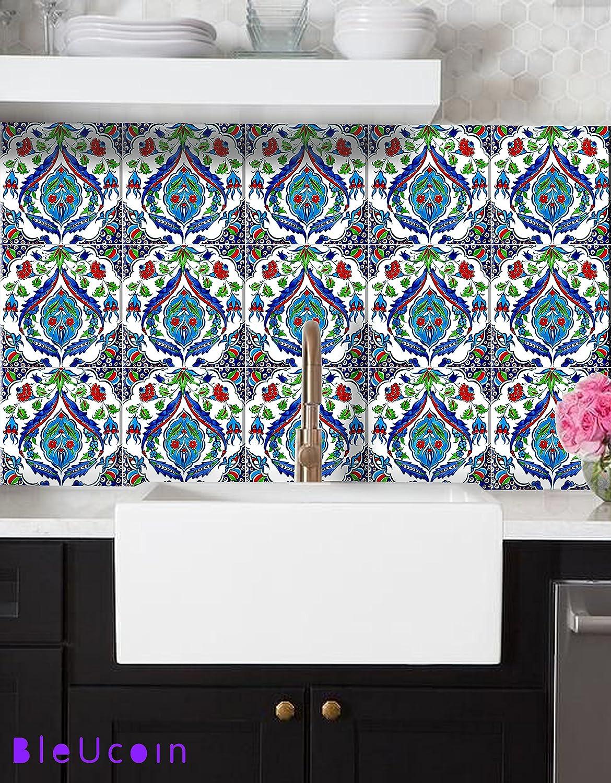 - Amazon.com: Batumi Turkish Tile Stickers For Kitchen Bathroom