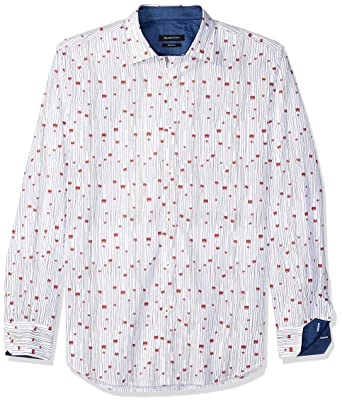 2fe5c0549f2 Bugatchi Men s Fitted Point Collar Conversational Pattern Long Sleeve Button  Down Shirt  Amazon.co.uk  Clothing