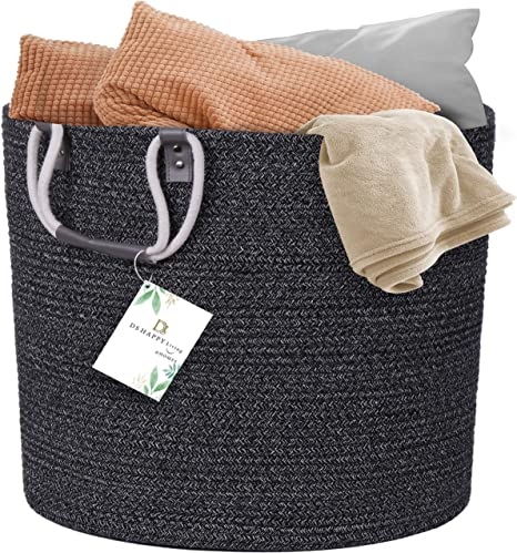 "Blanket Holder Baby Nursery Hampers Toy Basket DS HappyLiving XXL 18.1x18.1x18.1/"" Woven Laundry Basket 100/% Natural Cotton Wicker Laundry Basket Basket For Blankets Blanket Basket Living Room"