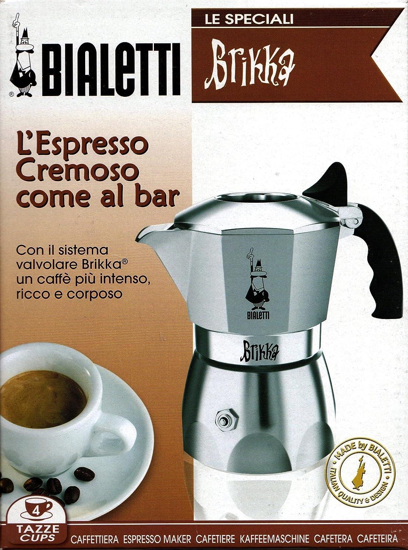 Bialetti Brikka Elite, Plata - Cafetera italiana, 2 tazas