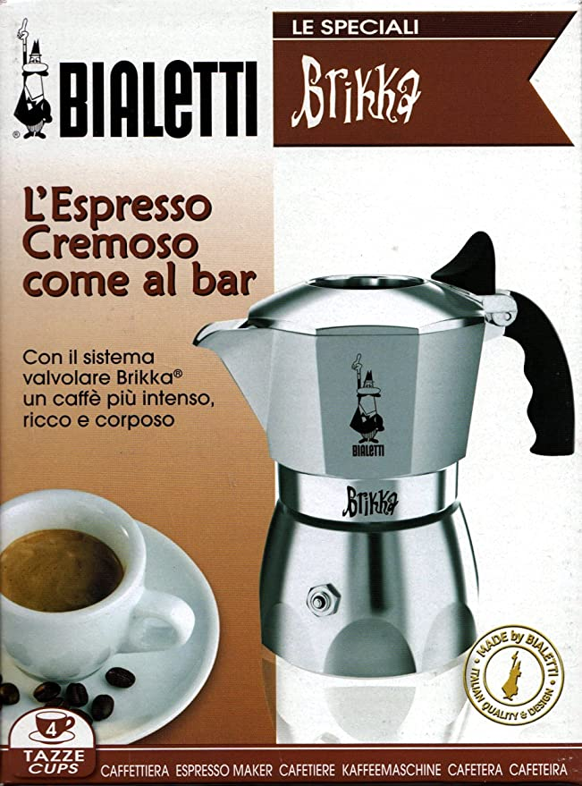 Bialetti Brikka Elite, Plata - Cafetera italiana, 2 tazas: Amazon ...