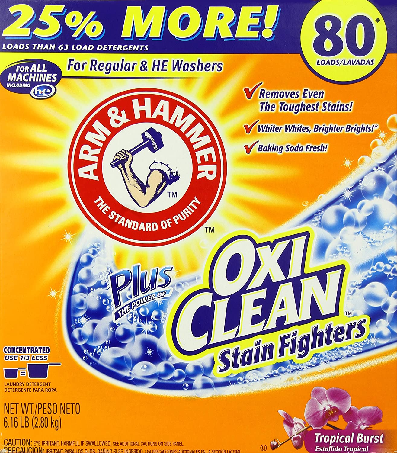 Is arm and hammer powder laundry detergent he - Amazon Com Arm Hammer Laundry Detergent Plus Oxiclean Tropical Burst 6 16 Lbs Health Personal Care