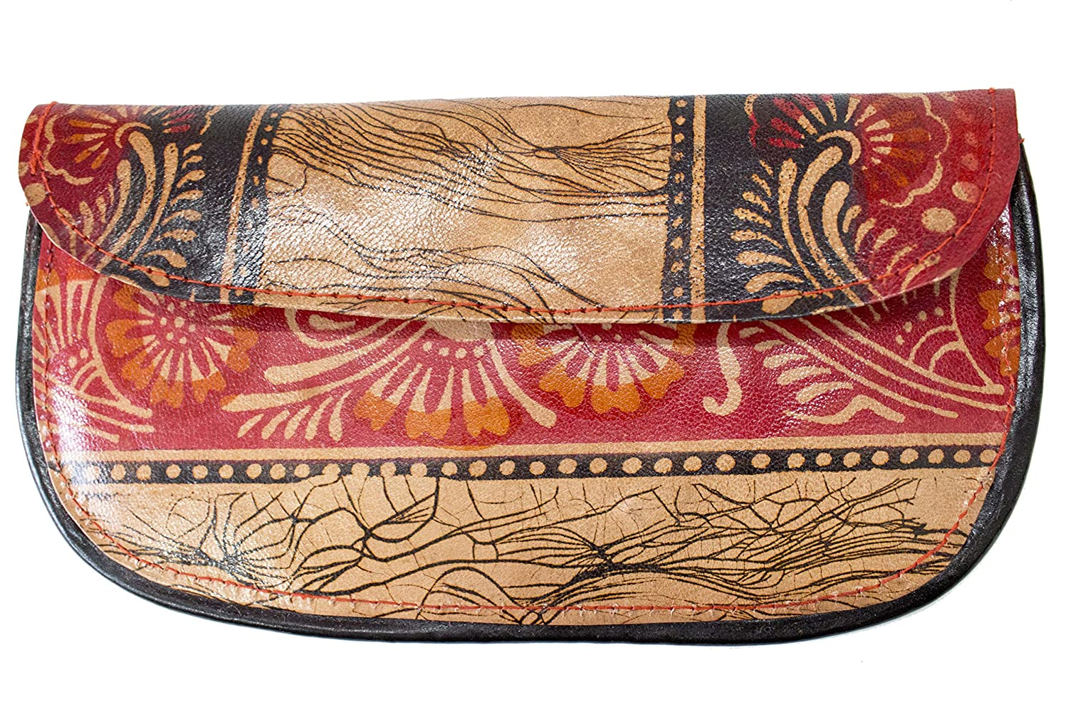 Top Layer Brown WRIGHT HARTS Womens Batik Leather Clutches Base Color Multicolored