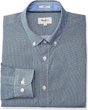 Pepe Jeans Camisa David Microestampado Hombre XXL Azul: Amazon.es: Ropa y accesorios