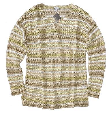f84cb5e0cd2114 J.Jill Women s Striped Linen Blend Loose Knit Sweater at Amazon ...