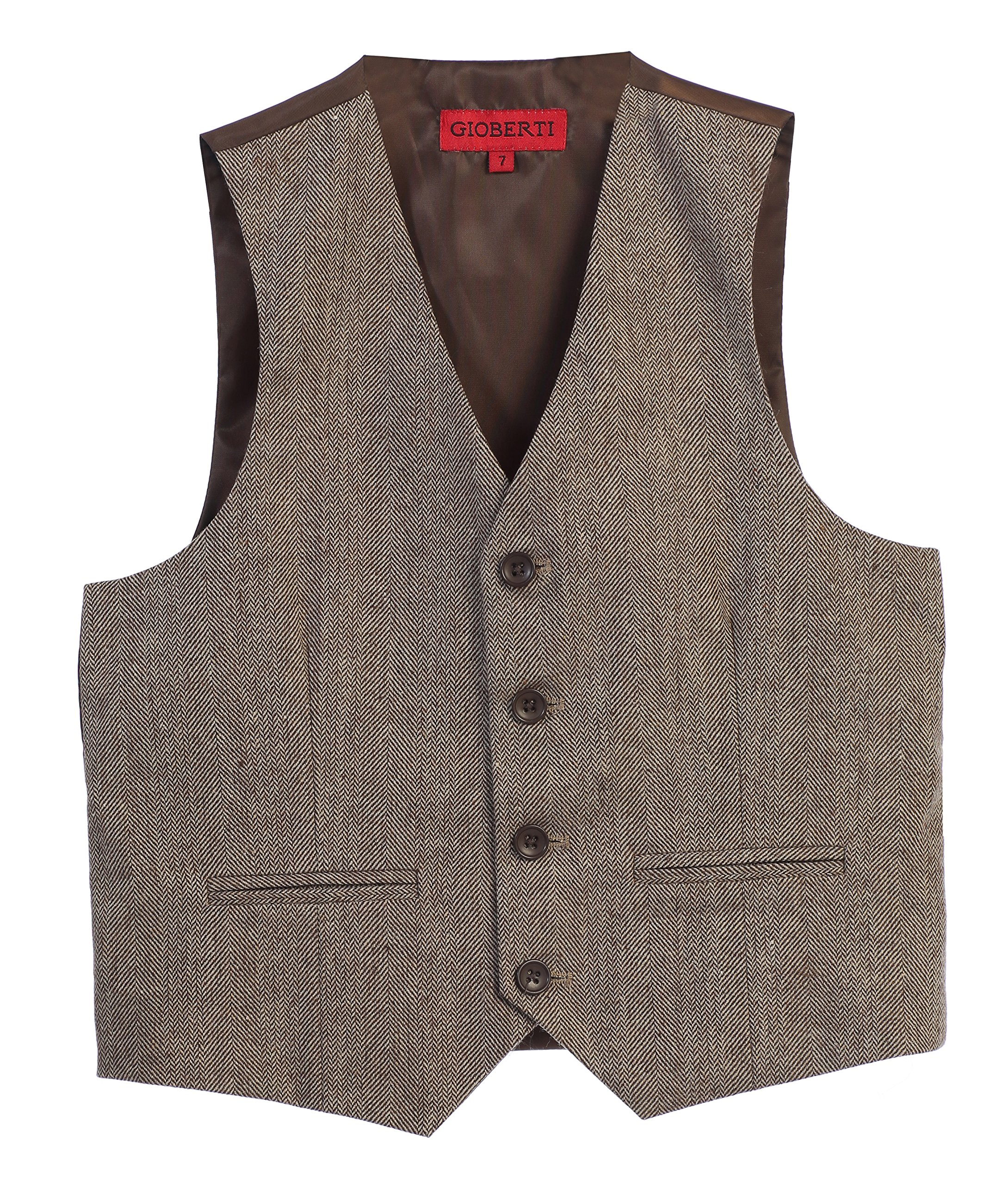 Gioberti Boy's Tweed Plaid Formal Suit Vest, Herringbone Tan, Size 3T