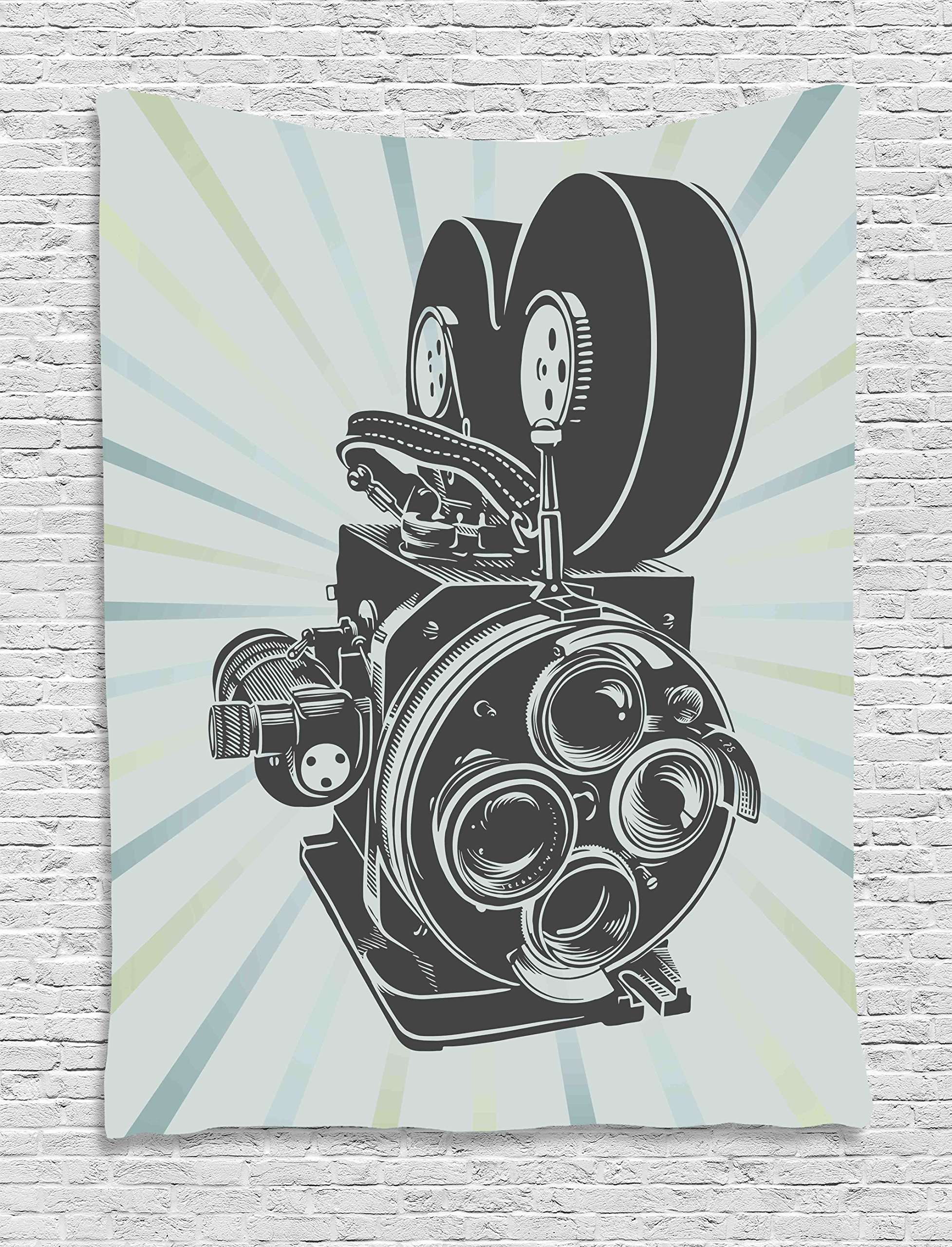 Ambesonne Modern Tapestry, Vintage Movie Camera Figure in Monochrome Color on Starburst Background, Wall Hanging for Bedroom Living Room Dorm, 40 W X 60 L inches, Grey Blue and Sky Blue