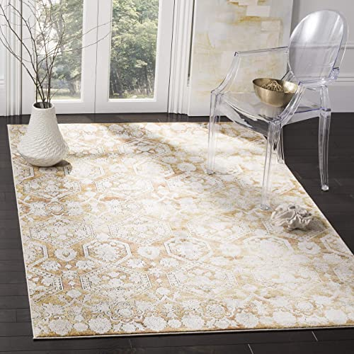 Safavieh Palermo Collection PLM846G Gold and Beige Area Rug, 5 1 x 7 6