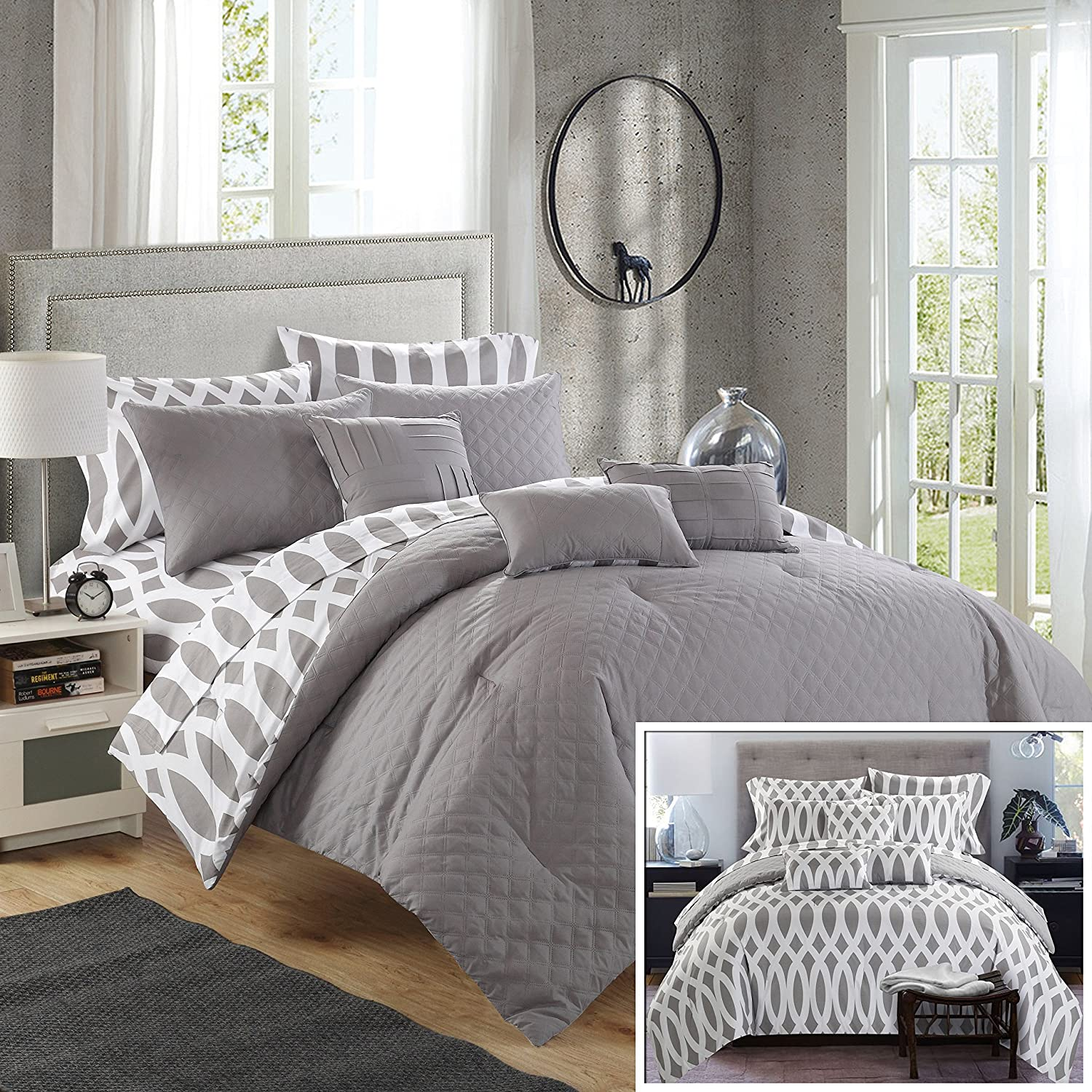 Chic Home 10 Piece Comforter Set Including 4 Piece Sheets Set, Queen, Grey
