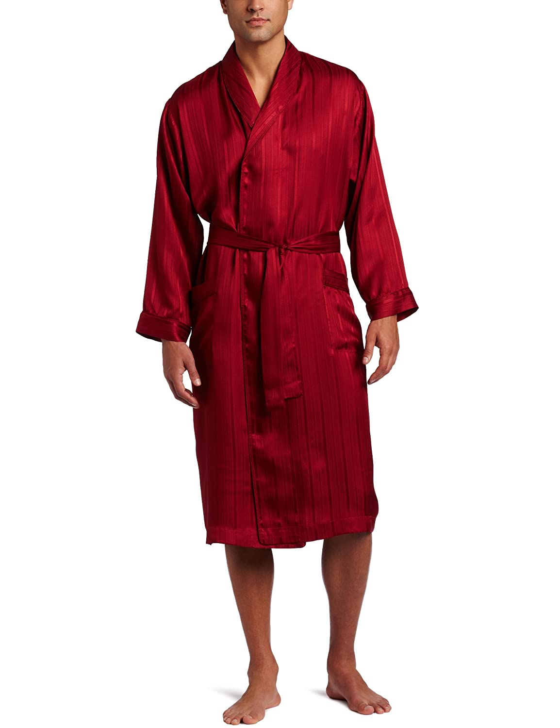 Majestic Herren Bademantel Herringbone Stripejacquard Silk Robe