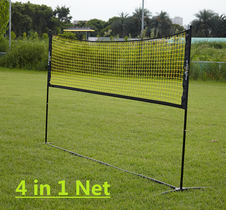 PodiuMax Portable 2 en 1 Mini Volleyball net ou Tennis humide (filet avec poteau) -3M large avec hauteur réglable