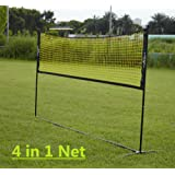 PodiuMax 4 in 1 Net for Mini Badminton, Volleyball, Tennis & Pickleball, 3m Wide with Adjustable Height – Yellow/Black
