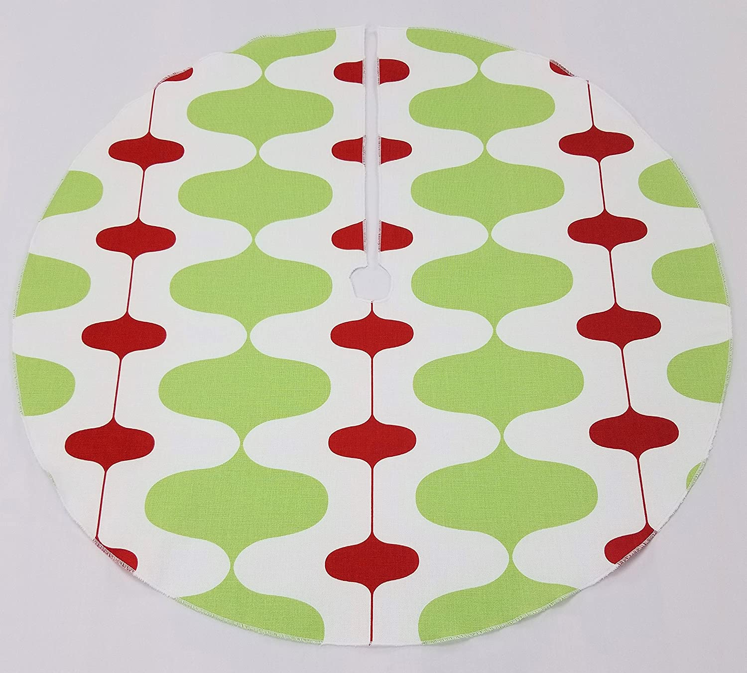 "Amazon.com: Retro Christmas Tree Skirt 25"" - Green Red and White, Made in  the USA, Vintage Style: Handmade"