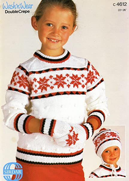 Amazon Sirdar Knitting Pattern C4612 Dk Snowflake Sweater