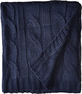 battilo soft knitted dual cable throw blanket navy - Cable Knit Throw