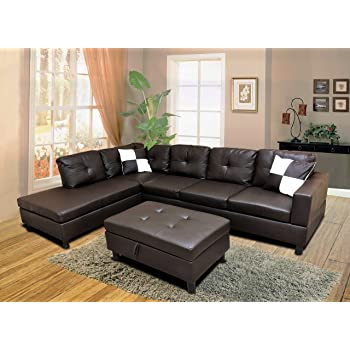 WINPEX 3 Piece Faux Leather Sectional Sofa Set With Free Storage Ottoman +  Left Or Right