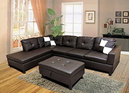 winpex 3 piece faux leather sectional sofa set with free storage ottoman left or right - Leather Sectional Sofa
