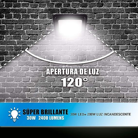 POPP® juegos de 5 y 10 Floodlight Led Foco Proyector Led 10w 20w 30w para Exterior Iluminación Decoración 6000k luz fria Impermeable IP65 Negro y Resistente al agua. (Focos 20 Watios, 10