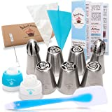 Russian Piping Tips-Cake Decorating Kit 23 pcs-Exclusive Guide-Silicone Spatula-7 Large Flower and Ball Tips-1 Reusable Silicone Icing Bag-10 Disposable Pastry Bags- 2 Couplers-Cleaning Brush+Gift Box