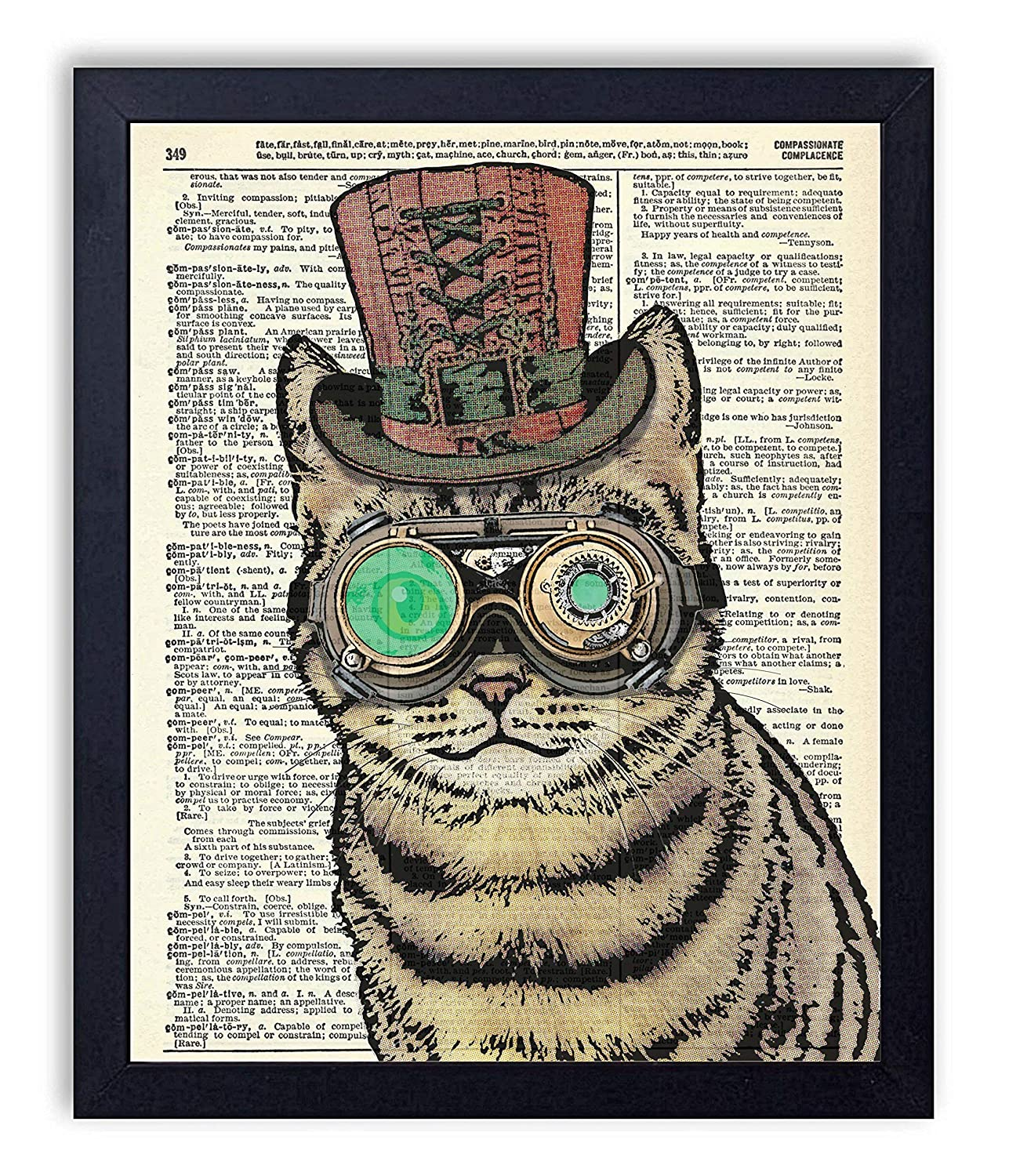 Edison Steampunk Cat Upcycled Wall Art Vintage Dictionary Art Print 8x10 inches / 20.32 x 25.4 cm Unframed