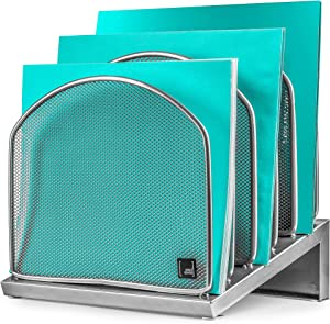Desk Organizer Inclined File Sorter by Mindspace, Office Desktop Document sorter with 5 Upright Sections | File Folder and Letter Organizer | The Mesh Collection, Silver