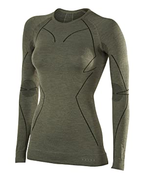 Falke ESS Wool Tech. Long Sleeve Shirt Camiseta, Mujer, Verde Oliva, XS