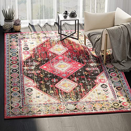 "Abani Rugs Distressed Black Fuchsia Diamond Pattern 5'3"" x 7'6"" Area Rug"