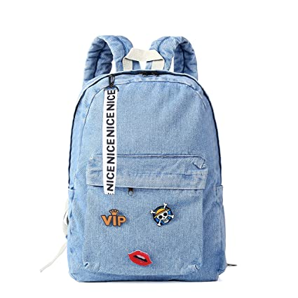 Mochilas para Teen Girls, Classic Retro Denim bookbags niños bolso de escuela Mochila de tela