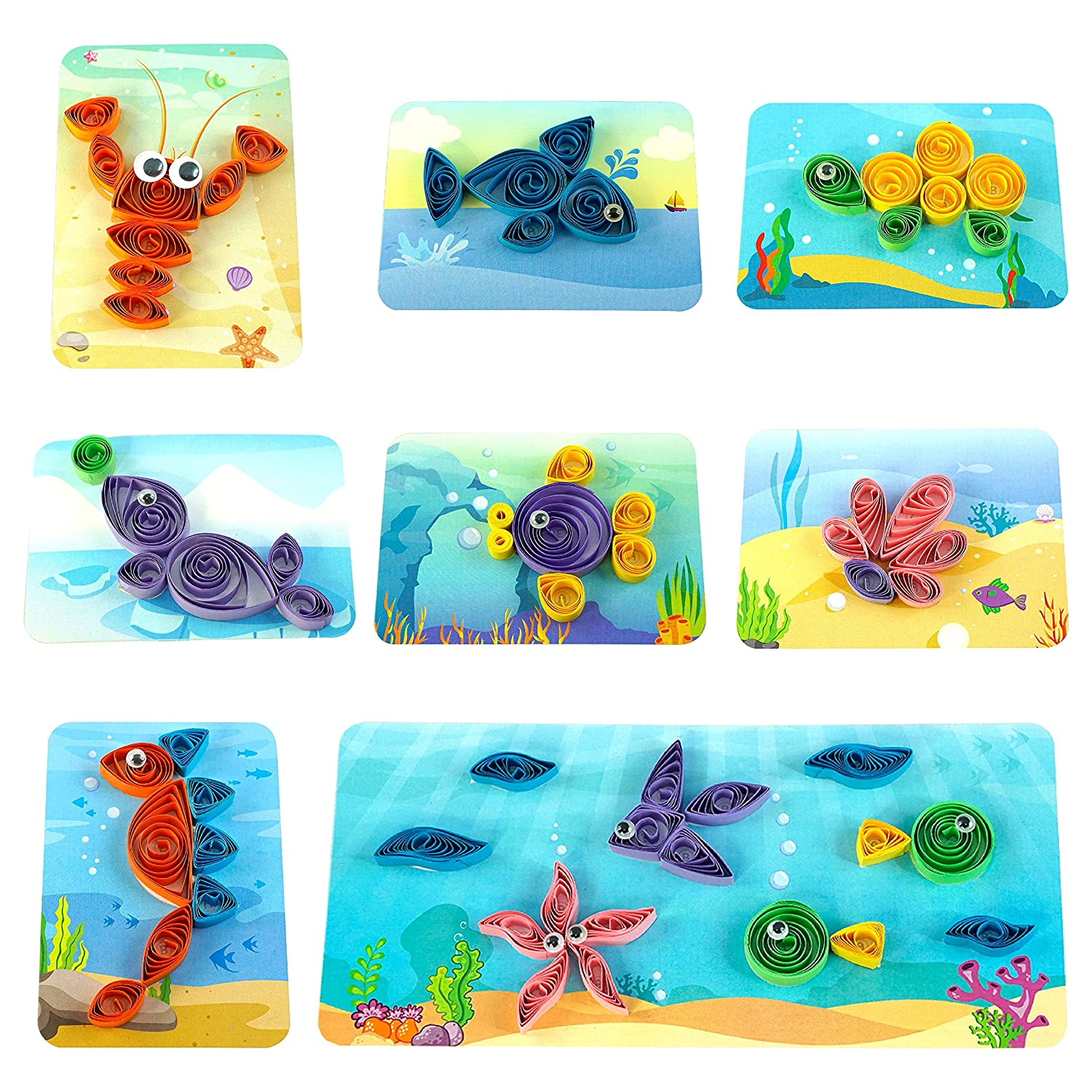 for Kids Age 5 and Above By the Buy Contains 8 Creative Self-Adhesive Cards Sticky-Back Quilling Strip /& Mini Sizing Board Amazing Ocean Theme Pack for Fun and Easy Quilling Activity Spyrosity Ocean
