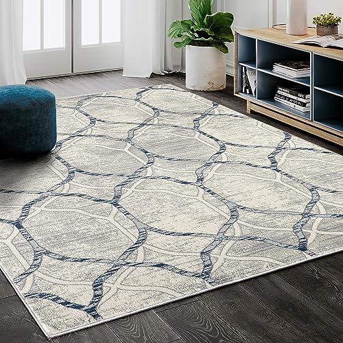 "Modern Grey Blue Geometric Trellis 7' 9"" x 10' 2"" Area Rug"