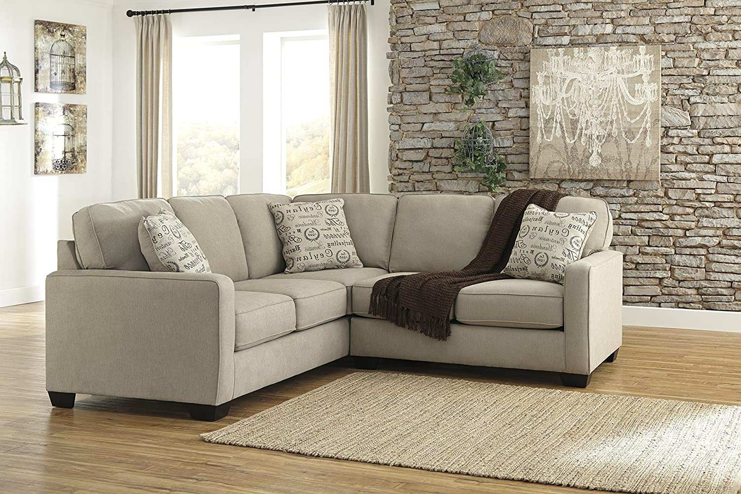 Amazoncom Alenya Vintage Casual Tan Fabric Right Chaise Sectional