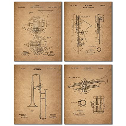 A19y4 IotXL._SX425_ amazon com trombone trumpet clarinet french horn patent prints