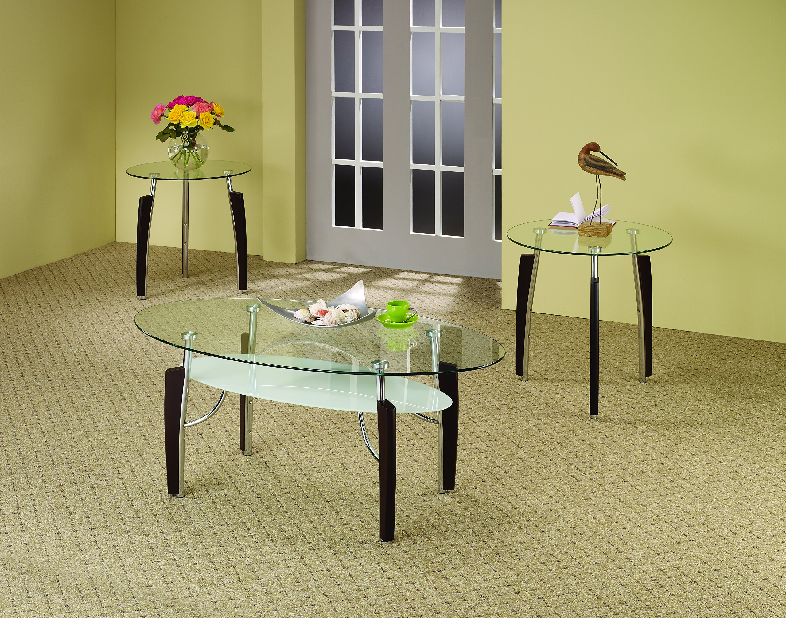 Coaster 701558 3-Piece Occasional Table Set with Glass Top