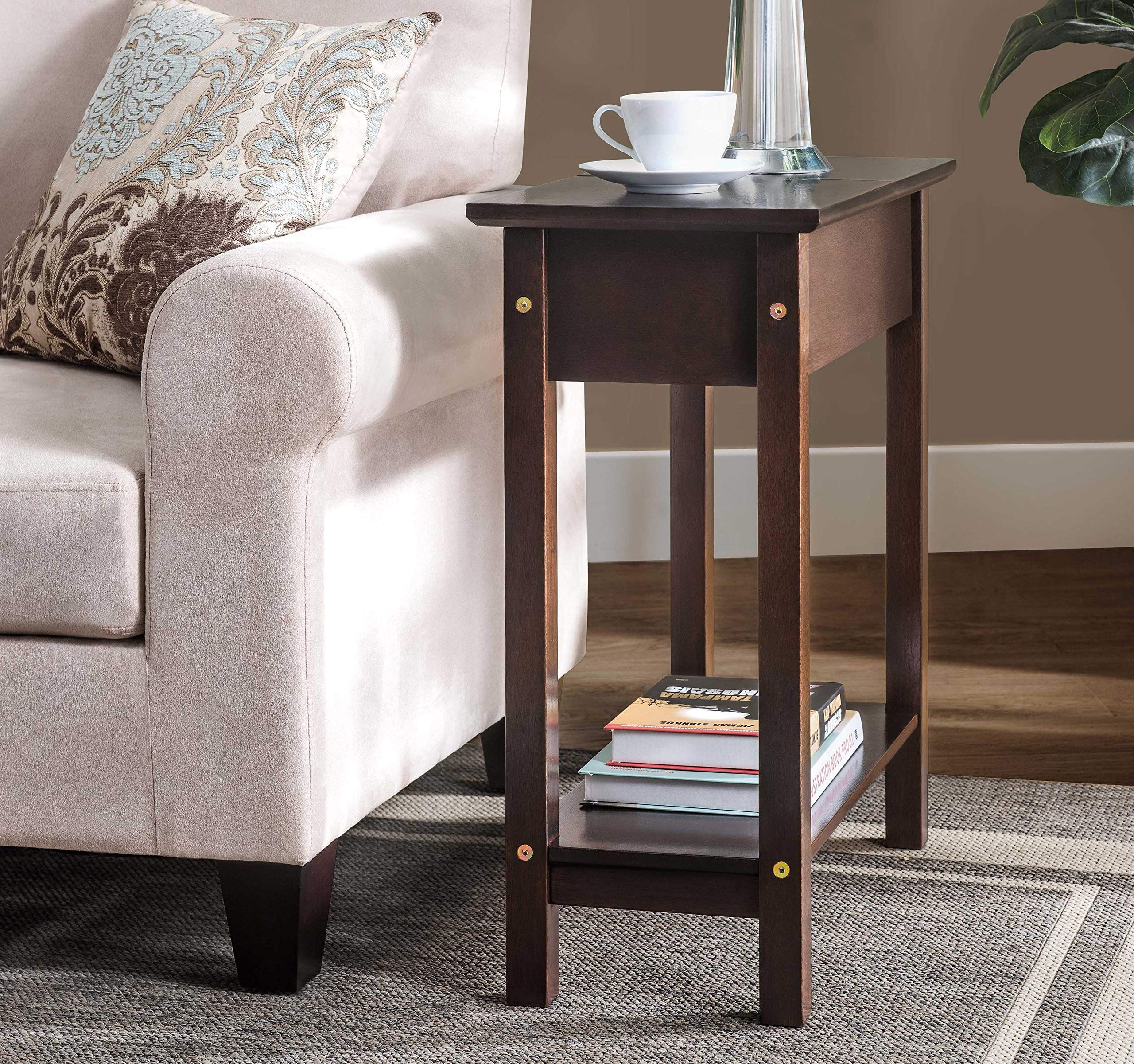 SJ Collection B12600005 Denver Flip Top Console End Table, Small, Brown