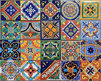 Amazoncom 100 Mexican Tile Mix 4x4 Home Kitchen