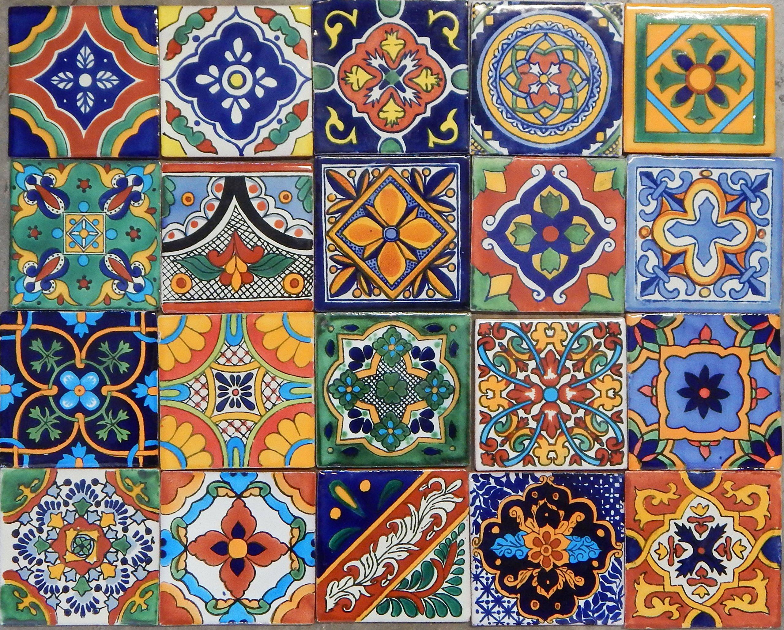 100 Mexican Tile Mix 4x4 by Color y Tradicion (Image #1)