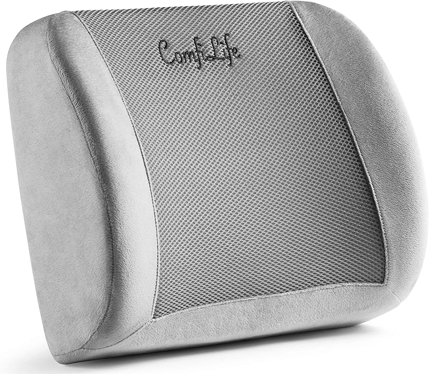 ComfiLife Lumbar Support Back Pillow Office Chair and Car Seat Cushion - Memory Foam with Adjustable Strap and Breathable 3D Mesh