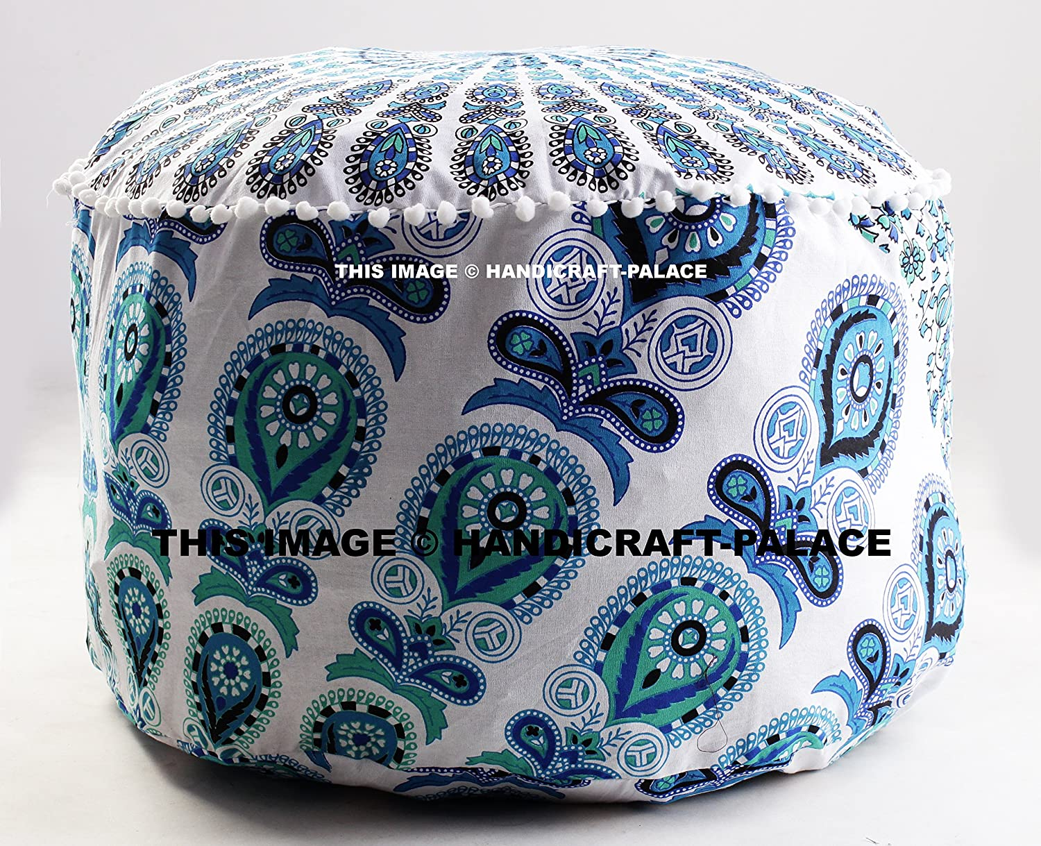 Indian Floor Pouf Ottoman Cover pouffe pouffes Foot Stool Peacock Mandala Round By Handicraft-Palace MOS-11