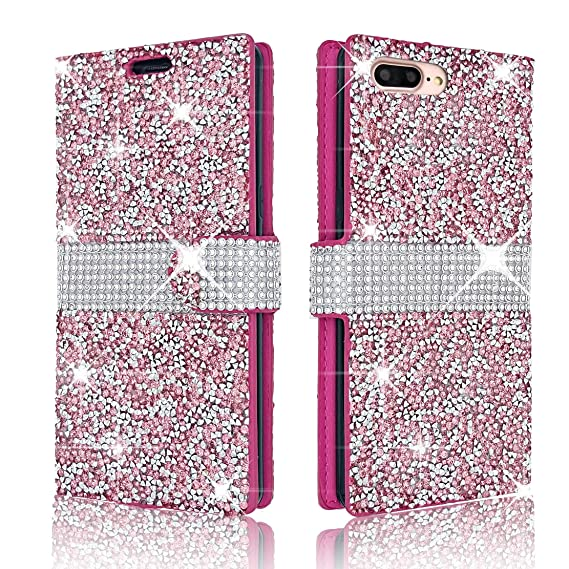 official photos 6e2b2 b886c iPhone 7Plus/iPhone 8Plus Wallet Case Shiny Glitter Sparkle Bling Stars  Flip Wallet Luxury Case Cover For iPhone 7 Plus/iPhone 8 Plus 5.5 Inch  (Pink)