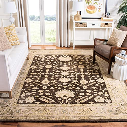 Safavieh Anatolia Collection AN564A Handmade Traditional Oriental Chocolate and Ivory Wool Area Rug 9 x 12
