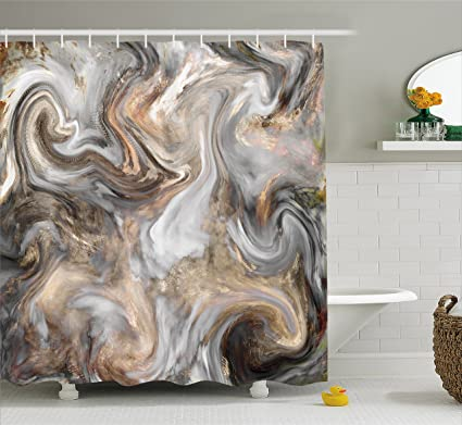 Ambesonne Marble Shower Curtain By Retro Style Paintbrush Colors In Marbling Texture Watercolor Artwork