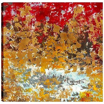 Canvas Print Wall Art Yellow Black Blue White Red ArtMaison.ca AMAIRI480BONL 36X36 Autumn II Large